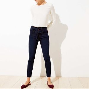 Petite Belted High Rise Skinny Jeans LOFT
